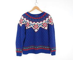 Sz M Nordic Fair Isle Knit Wool Sweater - 1990 Vintage Eddie Bauer
