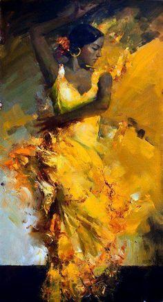 """Flamenco"" Oil Painting by Russian Artist Angelika Privalikhina Art Amour, Dance Paintings, Artwork Paintings, Ouvrages D'art, Art Et Illustration, Black Art, Love Art, Painting & Drawing, Dancer Drawing"
