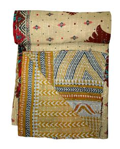 "Vintage Kantha Throw Quilt Patchwork Cotton Bedspread Ethnic Twin Size ~ 56""x86"" #Unbranded #ArtDecoStyle"