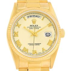 15484 Rolex President Day-Date Yellow Gold Ivory Roman Dial Watch 18038 SwissWatchExpo
