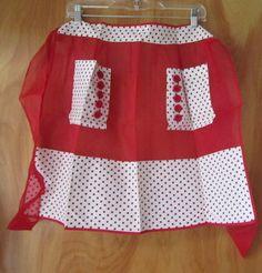 Vintage Apron! Red Polka Dots!! Retro Apron, Aprons Vintage, Cool Aprons, Linen Apron, Sewing Aprons, Half Apron, Smocking, To My Daughter, Vintage Fashion