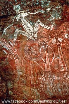 Kakadu National Park, Australia....an aboriginal cave painting of some of their creation gods. Aboriginese, believe that all things are living and even though the rock art is miles from one site, to another, it is all one story. We look, as if we are in a museum, one by one, but not so with the people long ago and now.