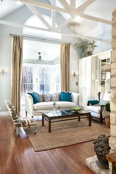 interior design musings.  Love the burlap colored drapes.
