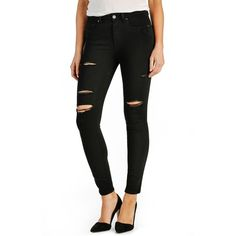 Paige Denim 'Transcend - Hoxton' High Rise Destroyed Ankle Ultra... ($199) ❤ liked on Polyvore featuring jeans, black shadow, ripped jeans, distressed skinny jeans, black destroyed skinny jeans, high waisted jeans and skinny jeans