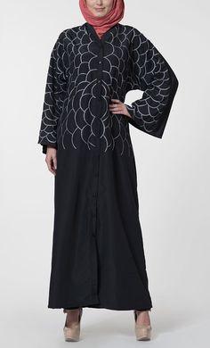 East Essence Abaya Dress  -  at PlusSizeDesi.com #psdesi #plussize #plussizedesi #desiclothing #psd Modest Wear, Modest Outfits, Kaftan Style, Pakistani Outfits, Baby Dress, Casual Wear, Shirt Style, Floral Prints, Fancy
