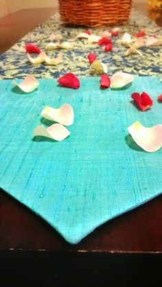 Blue dining table runner using Cambodian silk and Indonesian batik by BringItHome by Tendance Khmere