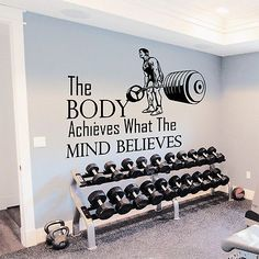 Wall Decals Quotes Sport The Body Achieves Gym Bedroom Decal Vinyl Decor - Tap the pin if you love super heroes too! Cause guess what? you will LOVE these super hero fitness shirts! Vinyl Decor, Vinyl Wall Decals, Sticker Vinyl, Wall Decor, Home Gym Decor, Gym Room At Home, Home Gyms, Gym Setup, Gym Interior