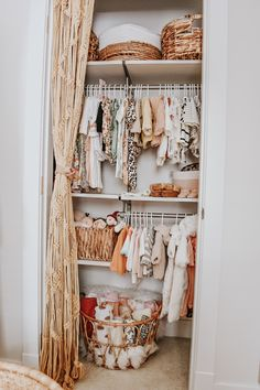 Nursery Closet Organization in Boho Nursery - Boho Baby Nursery Open Door Closet Source by projectnursery - Interior Design Blogs, Boho Nursery, Girl Nursery, Baby Nursery Closet, Small Baby Nursery, Ikea Baby Nursery, Baby Girl Nursey, Western Nursery, Rainbow Nursery Decor