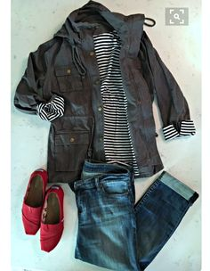Cargo jacket, toms, jeans...this is a a go to look for sure. Want a personal stylist? Stitch Fix is the best online service I've used & I know you'll love it too! Try it out: https://www.stitchfix.com/referral/4752668