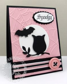 Stampin' Up! ... handmade Halloween card: Spooky ... black and pink with a bit of white .. punched owl silhouette ... bat and button ... spider web embossing folder texture ... fab look!