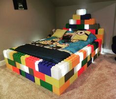 Bed made from oversized LEGO blocks called Modular Building blocks. See more at…