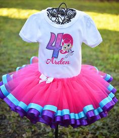 Shimmer and Shine Birthday Tutu Set Girls Custom Personalized
