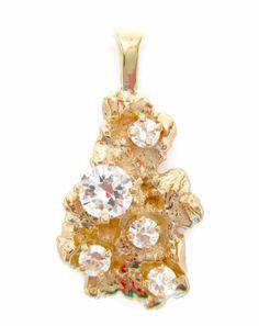 Vintage 0.75CT Fine Round Diamond Nugget Style Pendant 14K Yellow Gold #Handmade #Pendant