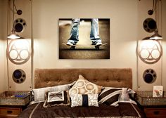 Vintage Skater on Board Art Print , Skate board room, Wall Decor, Wall Art,  Kids Room, Skateboard decor