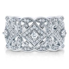 Victorian Diamond Antique Filigree Wide Anniversary Ring 1/2 carat (ctw) in 10K White Gold