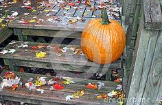 A pumpkin and fallen leaves on a rain-soaked front porch.