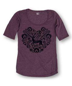 Another great find on #zulily! Heather Purple Deer Heart Three Quarter-Sleeve Tee #zulilyfinds. Happy Winter Solstice!