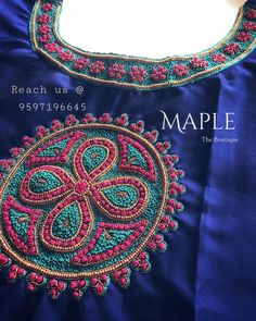 For customising your outfits : DM us Whatsapp to 9597196645 Kurti Embroidery Design, Hand Embroidery Dress, Embroidery Works, Hand Embroidery Designs, Embroidery Motifs, Pattu Saree Blouse Designs, Blouse Designs Silk, Dress Neck Designs, Bridal Blouse Designs
