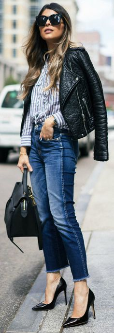 button up + great paired with straight leg denim jeans + pair of classic black stilettos + leather jacket + stylish look + Pam Hetlinger.  Jeans: 7FAM, Shirt: Madwell, Jacket: Topshop, Pumps: M. Gemi, Bag: Celine.