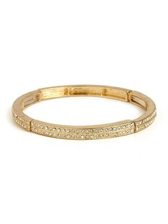 we love our gold crystal channel bangle!