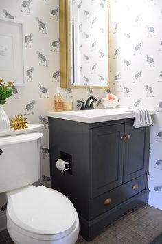 Design*Sponge | Before & After: A Bathroom Gets Dressed Up With Wallpaper