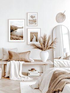 Gallery Wall Bedroom, Room Ideas Bedroom, Home Decor Bedroom, Living Room Decor, White Bedroom Decor, Bedroom Wall, White Decor, Scandinavian Interior Bedroom, Scandinavian Wall Decor