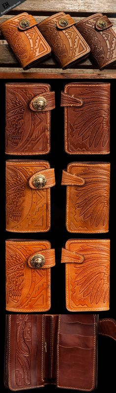 Handmade brown leather indian skull carved biker wallet bifold short w | EverHandmade