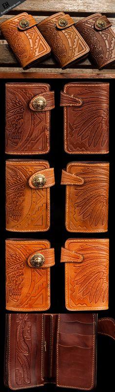 Handmade brown leather indian skull carved biker wallet bifold short w   EverHandmade