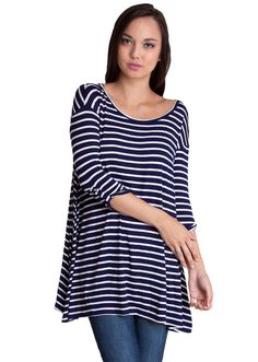 Striped Rolled Up Cuff Trapeze Top T12098NB, clothing, clothes, womens clothing, jeans, tops, womens dress