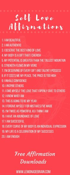 Positive Affirmations: Plus Free Downloadable files Lists of downloadable positive affirmations, completely FREE for you because I love y'all and want you to succeed! Positive affirmations are a powerful tool. I believe the more we use them and get our thoughts to match the life we want, the more our life can improve for the better. I believe