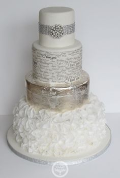 Ruffles and Silver Wedding Cake