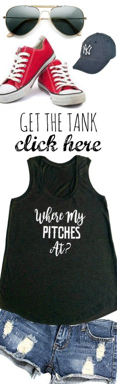 Baseball fashion.  Click here to see some of the cutest baseball tank tops! Baseball Outfits, Baseball Fashion, Baseball Tank, Baseball Mom, Jeans And Converse, Converse Style, June 16, Ripped Jeans, Family Photos