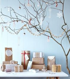 Christmas wrapping in brown paper packages tied up with string, of course.