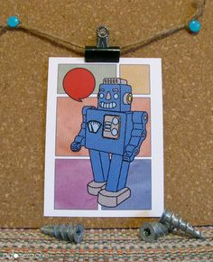 Vintage Robot https://www.etsy.com/ca/listing/205378686/children-birthday-cards-1st-collection-4?