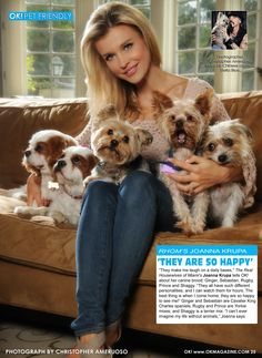 This week in my OK! Pets page in OK! magazine my dear friend and amazing animal rescuer and animal advocate Joanna Krupa with her rescues. Joanna has a huge heart for all animals and is a beautiful person.