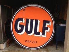 Gulf Antique Porcelain Sign (Old Vintage 1954 2 Sided Metal Oil & Gas Advertising Service Station Sign)
