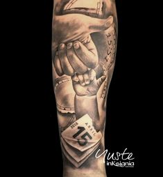 Baby Tattoo For Dads, Name Tattoos For Moms, Baby Name Tattoos, Tattoo For Son, Tattoos For Guys, Family Tattoos For Men, Hook Tattoos, Forarm Tattoos, Tatuajes Tattoos