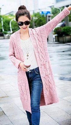 59 Style Clothes To Copy Now - Stel Style Fashion - Diy Crafts Cardigan Outfits, Casual Outfits, Fashion Outfits, Crochet Coat, Crochet Cardigan, Knit Fashion, Womens Fashion, Sweater Coats, Sweaters
