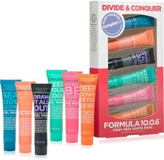 Formula Divide & Conquer Multi Masking Sampler Kit makes it so easy to multi-mask! Simply spot apply a mask to any area of your face that needs a little attention. Beauty Care, Beauty Skin, Face Beauty, Beauty Tips, Beauty Hacks, Charcoal Mask Peel, Multi Masking, Gel Mask, Skin Tag Removal