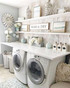functional and stylish laundry room design ideas to inspire 7 Modern Laundry Rooms, Laundry Room Layouts, Laundry Room Remodel, Laundry Room Signs, Farmhouse Laundry Room, Laundry Room Organization, Shelving In Laundry Room, Laundry Room Ideas Garage, Laundry Organizer