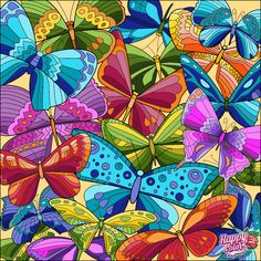 Coloring Apps, Adult Coloring, Coloring Books, Pebeo Porcelaine 150, Quilling Jewelry, Colorful Artwork, Happy Colors, Art Pages, Butterfly