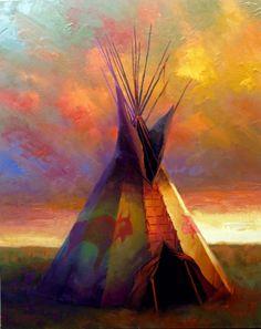 Native American Teepee, Native American Paintings, Dream Catcher Native American, Native American Beauty, Native American Crafts, American Indian Art, Native American Indians, Canvas Photo Transfer, Bright Art