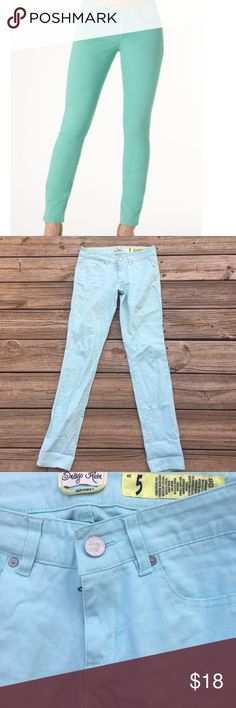 Mint colored skinny jeans In excellent condition! The stock photo is the true color. They look lighter in natural light! No flaws! Supper cute with the cuffs rolled. Thanks for looking. Indigo Rein Jeans Skinny