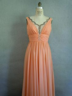 Early 60s peachy pink formal gown by Mike Benet.