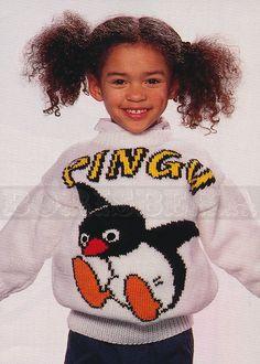 vintage Adult & Childs PINGU jumper knitting pattern by borisbeka, $4.00