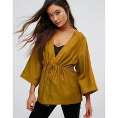 Gestuz Janet Silk Kimono Blouse (194 AUD) ❤ liked on Polyvore featuring tops, blouses, green, kimono sleeve blouse, kimono top, plunge neck blouse, silk top and brown silk blouse