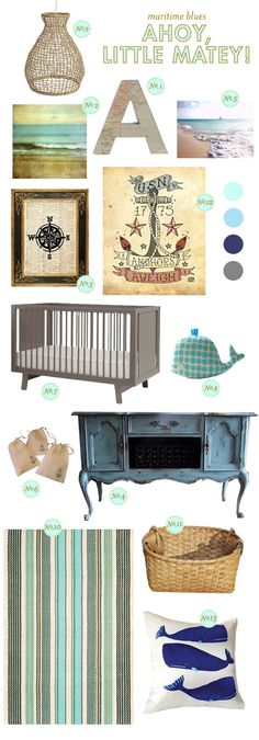 Nautical nursery ideas. I really like the calm and neutral color palette, it would be very soothing for a baby