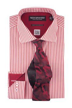 Striped Dress Shirt & Patterned Tie Set
