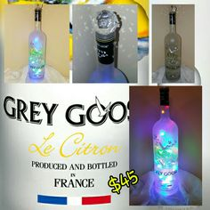 Grey Goose liter bottle with 100 multicolor LED plug-in string lights topped with a beautiful ckear glass crystal prism ball. Wine Bottles, Vodka Bottle, Grey Goose, Glass Crystal, String Lights, Plugs, Diy Crafts, Led, Crystals