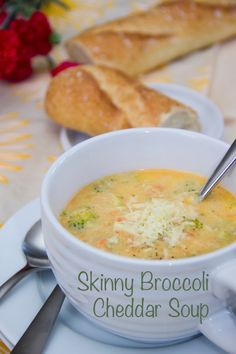 Skinny Broccoli Cheddar Soup (thickened w/ a rich cauliflower puree)